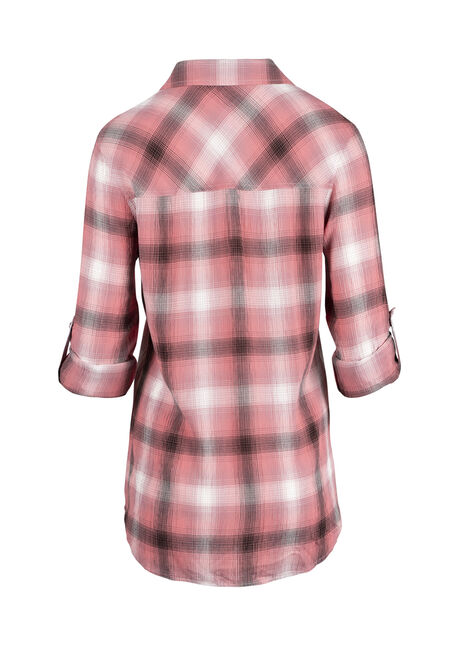 Ladies' Crinkle Plaid Shirt, TOUCAN, hi-res