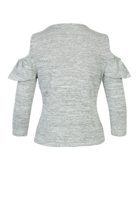 Ladies' Ruffle Front Cold Shoulder Top, GREY, hi-res