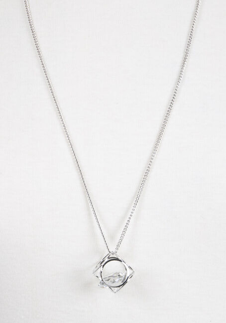 Ladies' Cube Necklace, RHODIUM, hi-res