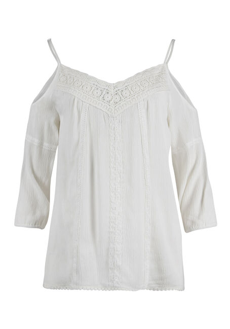 Ladies' Crochet Trim Cold Shoulder Top