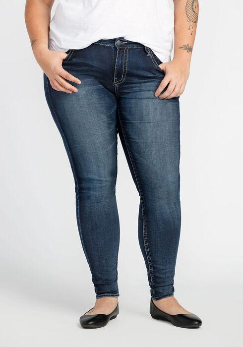Ladies'  Plus Size Skinny Jeans, MEDIUM WASH, hi-res