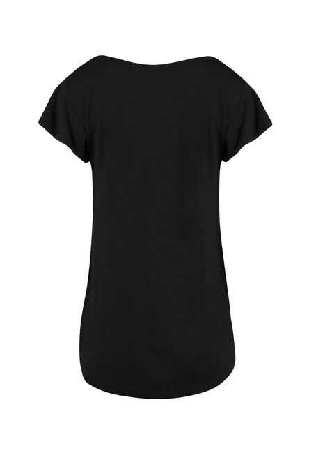 Ladies' Flutter Sleeve Tee, BLACK, hi-res