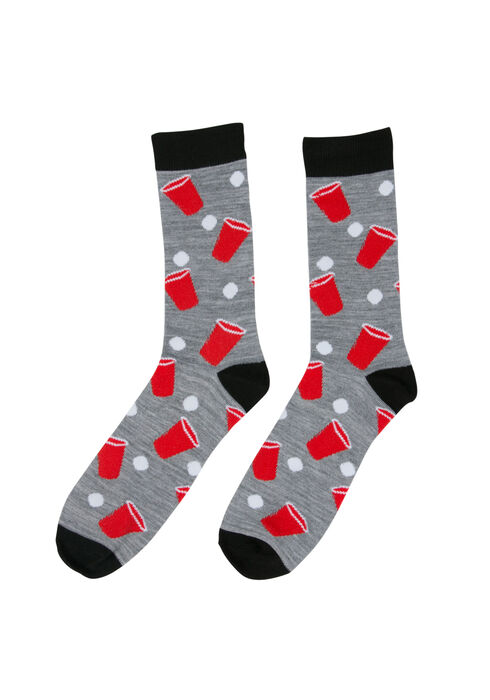 Men's Beer Pong Crew Sock, RED, hi-res