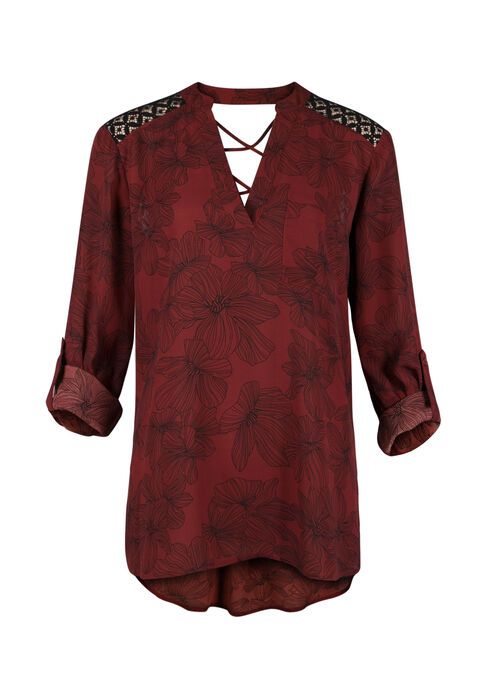Ladies' Floral Print Popover Blouse, BURNT RED, hi-res