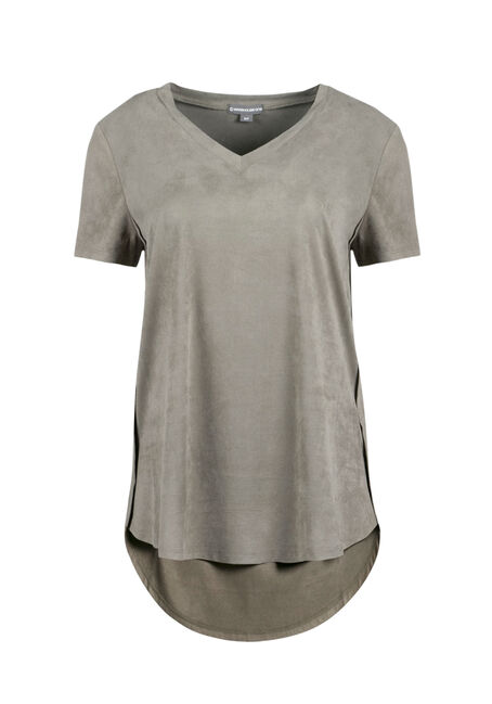 Ladies' Faux Suede Hi-Low Tee