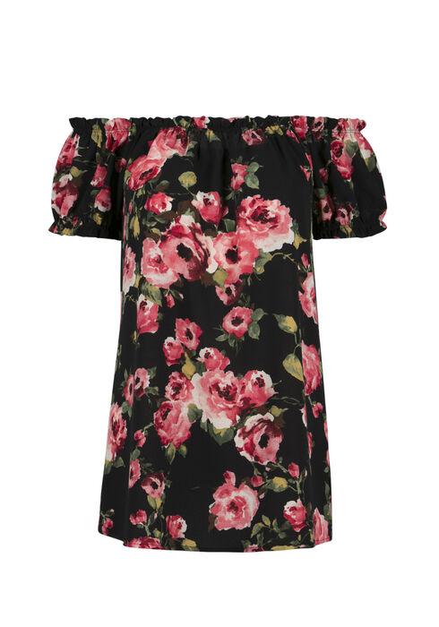 Ladies' Floral Bardot Top, BLACK, hi-res