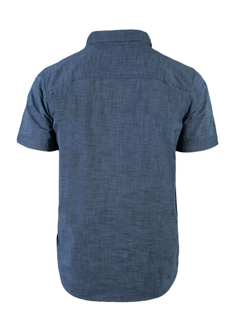 Men's Relaxed Textured Shirt, BLUE, hi-res