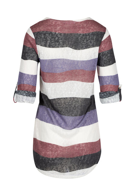 Ladies' Stripe Tunic tee, DAHLIA, hi-res