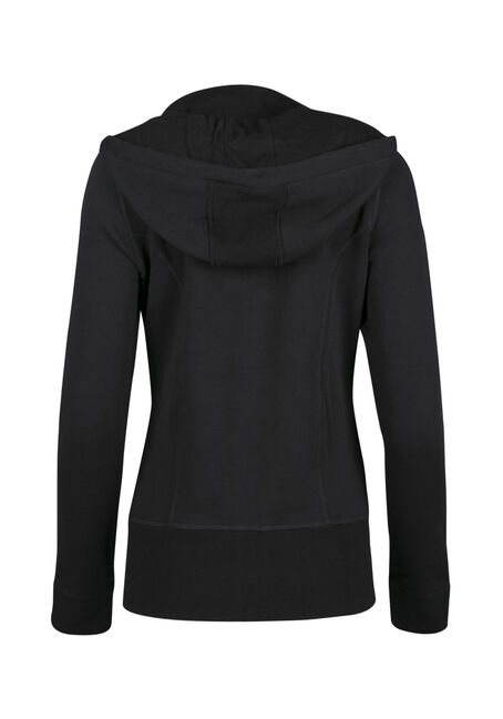 Ladies' Zip Front Hoodie, BLACK, hi-res