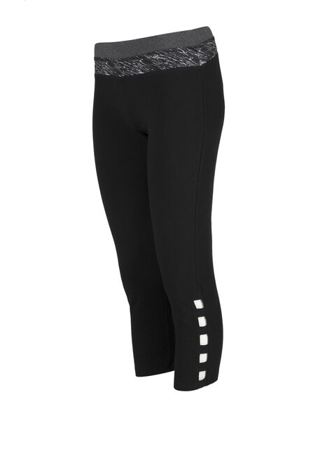 Ladies' Ladder Leg Capri Legging, BLACK, hi-res