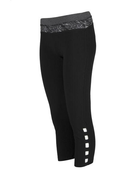 Ladies' Ladder Leg Capri Legging, BLACK, hi-res