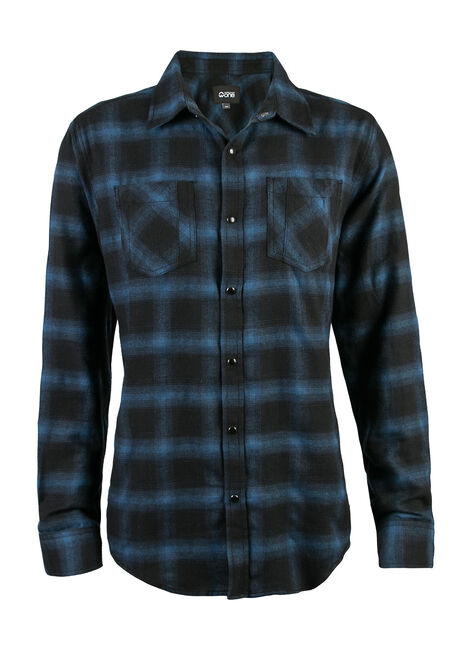Men's Flannel Shirt, ROYAL BLUE, hi-res