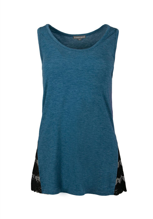 Ladies' Lace Insert Tank, MIRAGE BLUE, hi-res