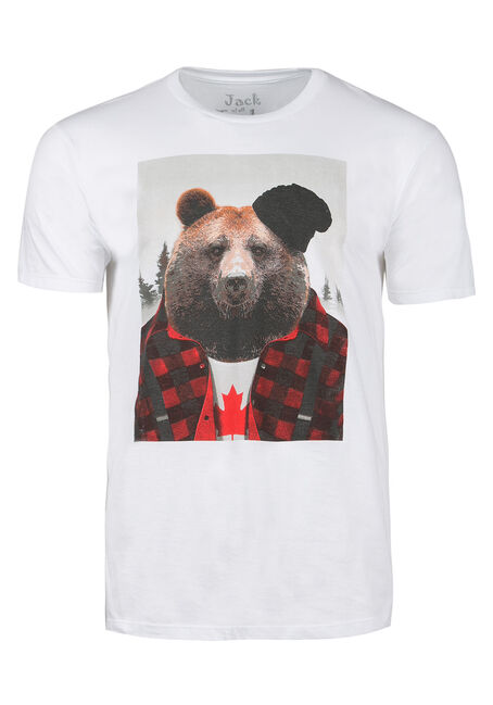Men's Canadian Lumberjack Bear Tee, WHITE, hi-res