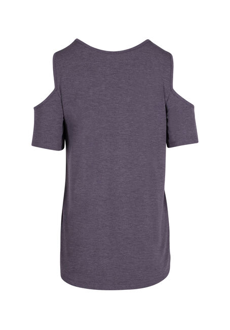 Ladies' Cage Neck Cold Shoulder Tee, SD GRAPE, hi-res