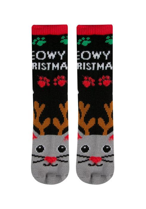 Ladies' Meowy Xmas Holiday Socks, BLACK, hi-res