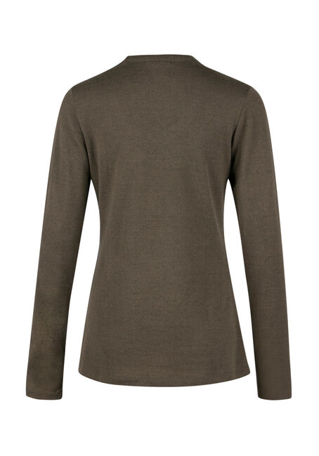 Ladies' Split Neck Top, MILITARY, hi-res