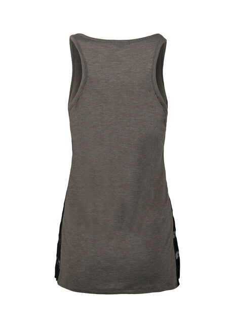 Ladies' Lace Insert Tank, MILITARY, hi-res