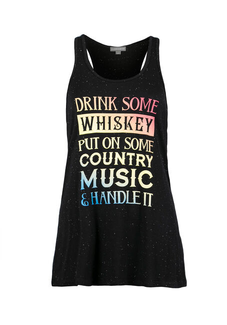 Ladies' Drink Some Whiskey Tank, BLACK, hi-res