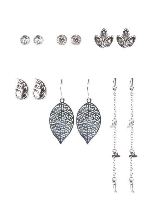 Ladies' 6 Pair Earring Set, RHODIUM, hi-res