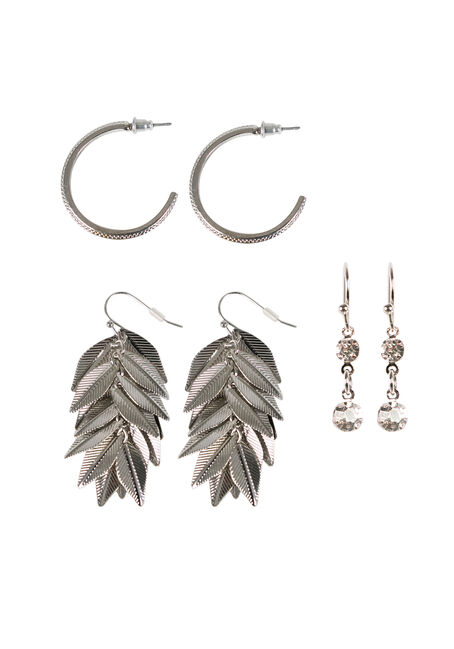 Ladies' Earring Set, RHODIUM, hi-res