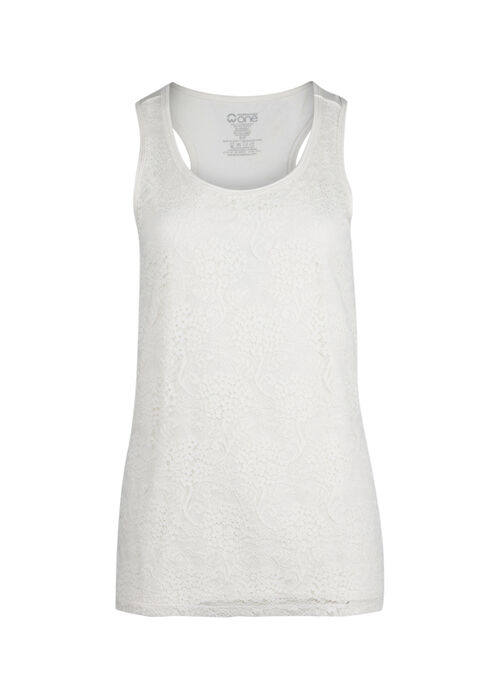 Ladies' Lace Front Tank, IVORY, hi-res