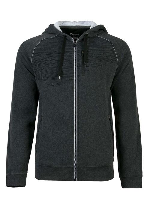 Men's Athletic Zip Front Hoodie, Charcoal, hi-res