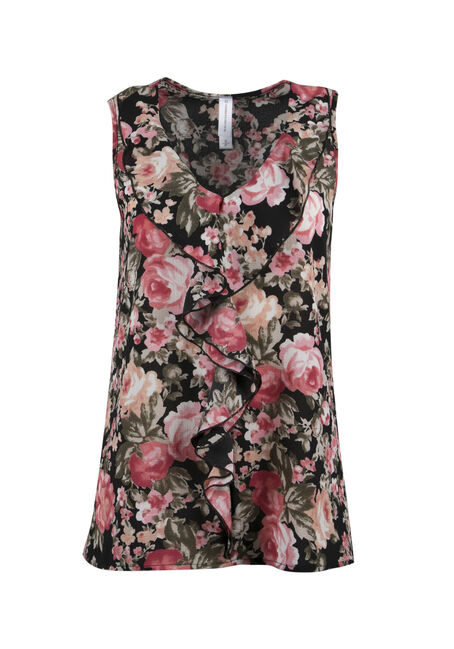 Ladies' Floral Ruffle Tank, BLACK, hi-res