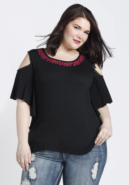 Ladies' Embroidered Cold Shoulder Top, BLACK, hi-res