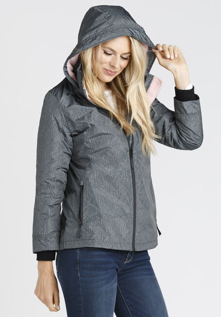 Ladies' Plush Lined Hooded Jacket, GREY, hi-res