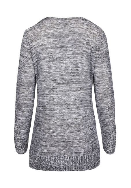 Ladies' Pointelle Sweater, BLK/WHT, hi-res