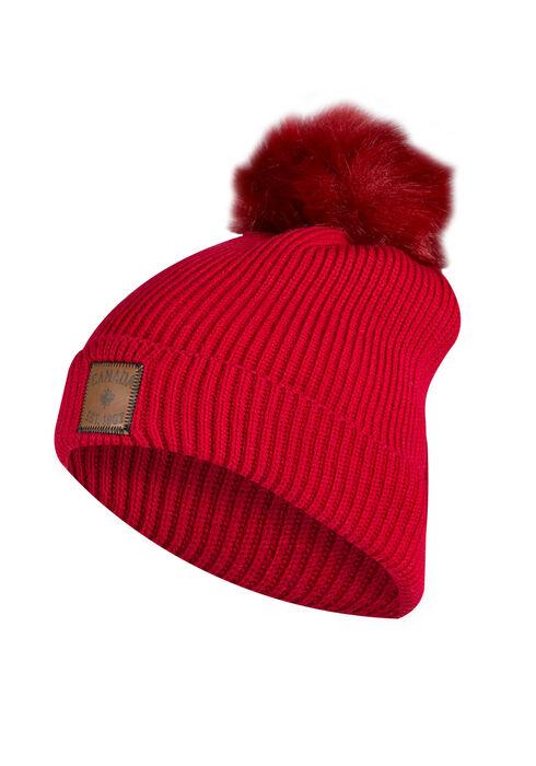 Ladies' Canada Pom Pom Hat, RED, hi-res