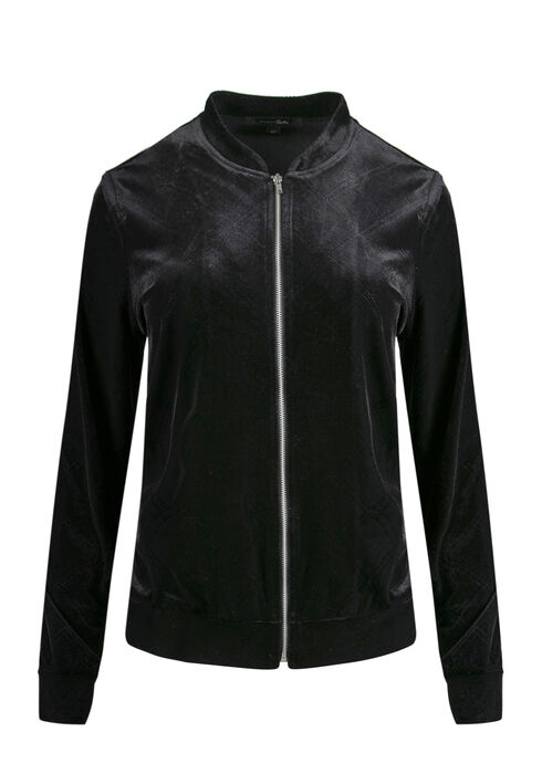 Ladies' Velvet Bomber Jacket, BLACK, hi-res