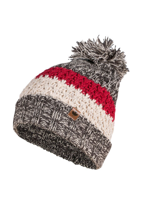 Ladies' Pom Pom Cabin Hat, GREY, hi-res