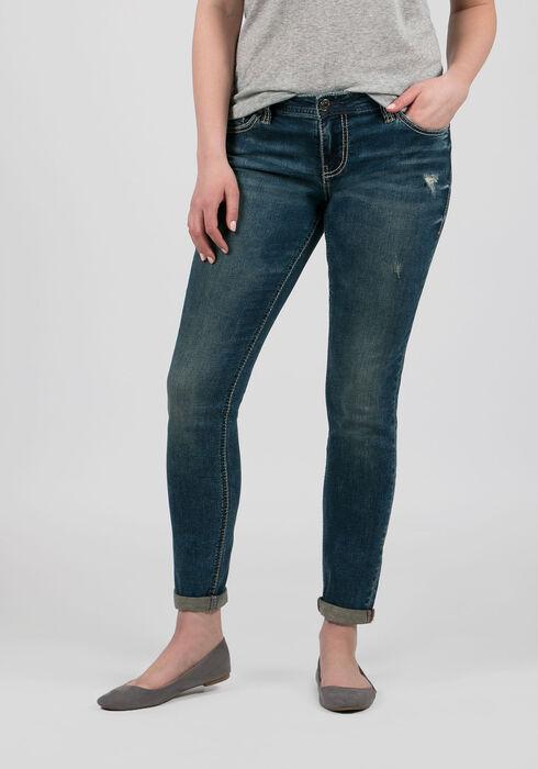 Ladies' Girlfriend Jeans, DARK VINTAGE WASH, hi-res