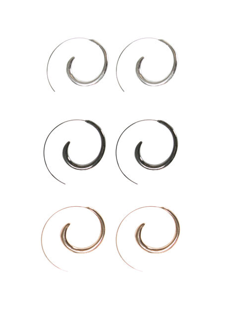 Ladies' Trio Swirl Earring Set
