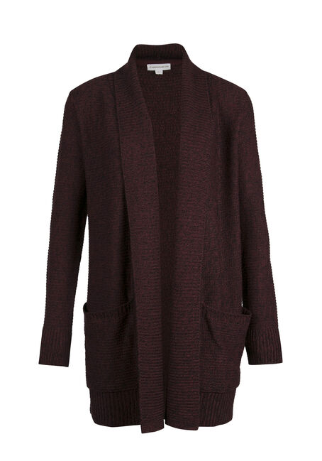 Ladies' Shawl Collar Open Cardigan, WINE/ BLACK TWIST, hi-res