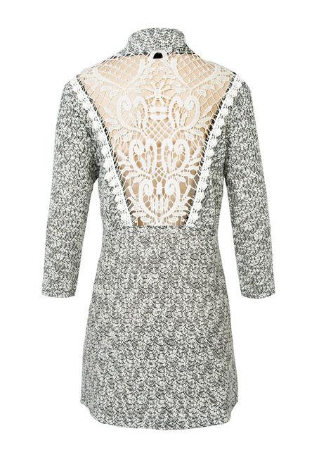 Ladies' Crochet Back Wrap, BLK/WHT, hi-res