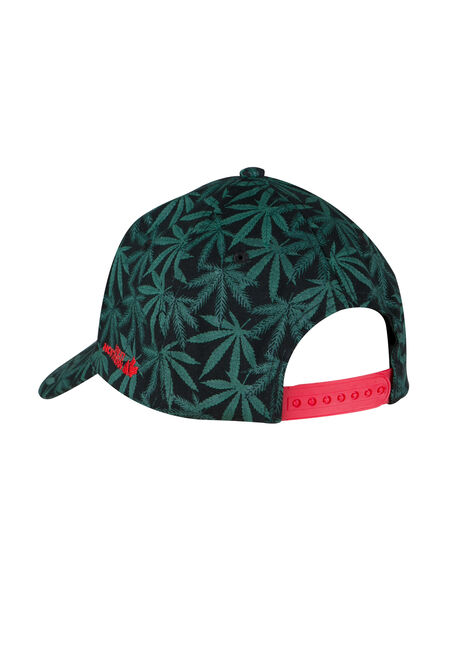Men's Cannabis Print Baseball Hat, KELLY GREEN, hi-res