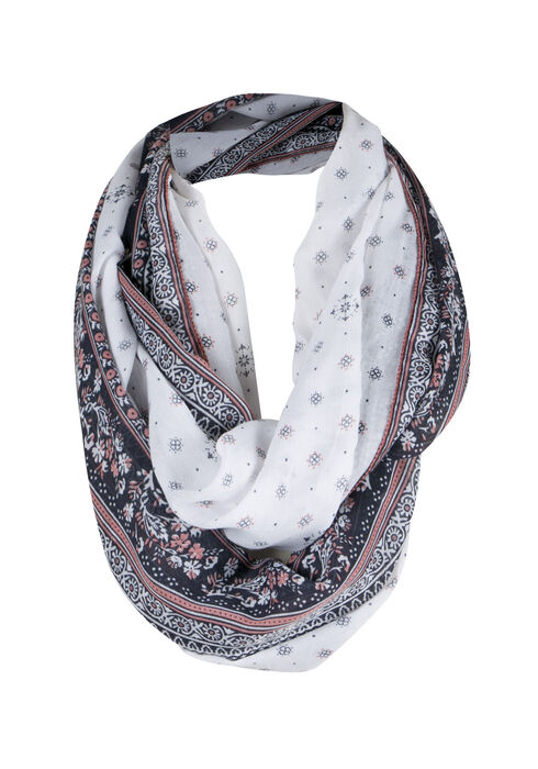 Ladies' Dual Print Infinity Scarf, WINTER WHITE, hi-res