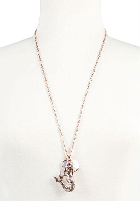 Ladies' Long Mermaid Necklace, GOLD, hi-res