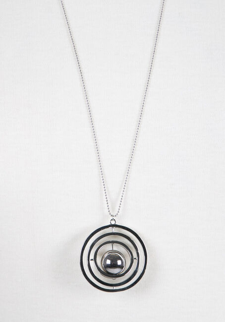 Ladies' Orbital Necklace, RHODIUM, hi-res