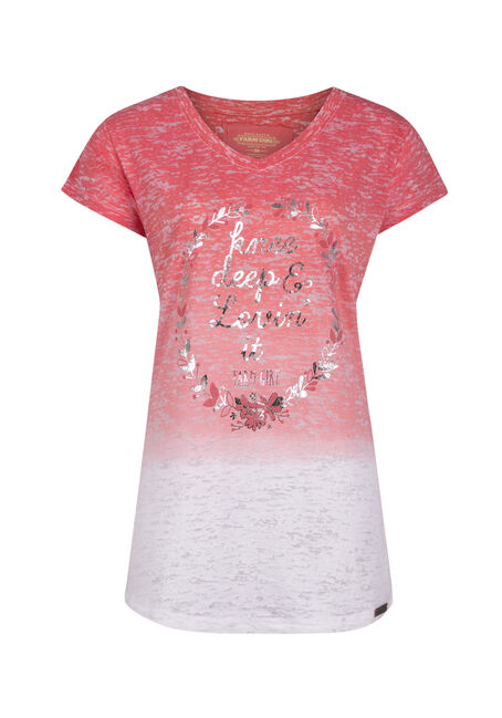 Ladies' Knee Deep Tee, CORAL, hi-res