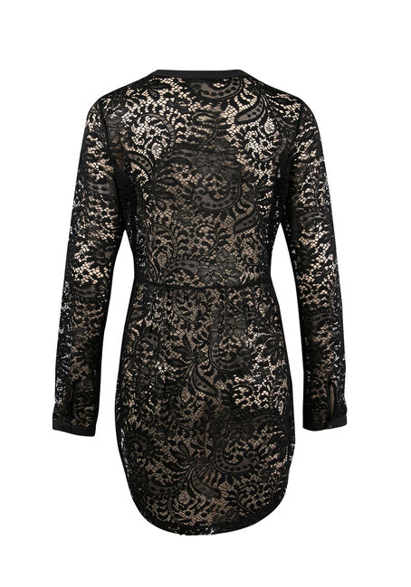 Ladies' Lace Henley Tunic, BLACK, hi-res