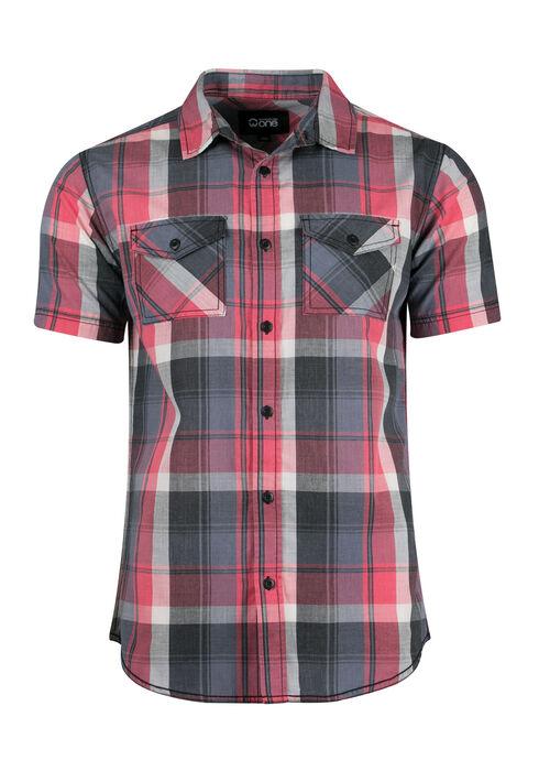 Men's Washed Plaid Shirt, MELON, hi-res
