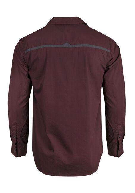 Men's Relaxed Micro Check Shirt, BURGUNDY, hi-res