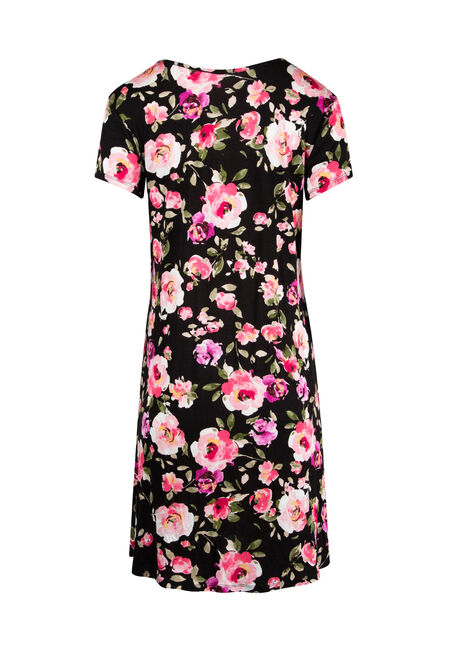 Ladies' Floral A-Line Dress, BLACK/PINK, hi-res