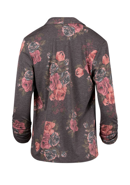 Ladies' Floral Print Cardigan, PURPLE, hi-res
