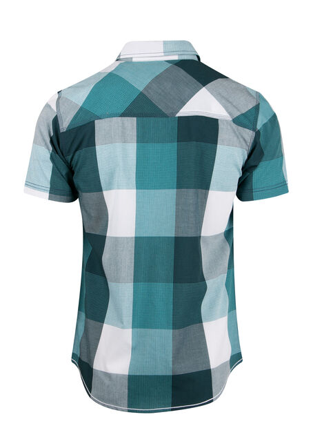 Men's Plaid Shirt, AQUA, hi-res
