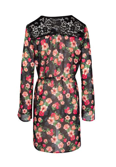 Ladies' Tie Front Kimono, BLACK, hi-res